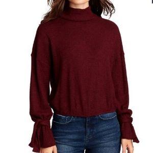 William Rast Thermal Ellie Pullover Mock Neck Tie Sleeves Sweater